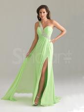 dress,fashionable and elegant,empire waist and one shoulder chiffon dress,side split