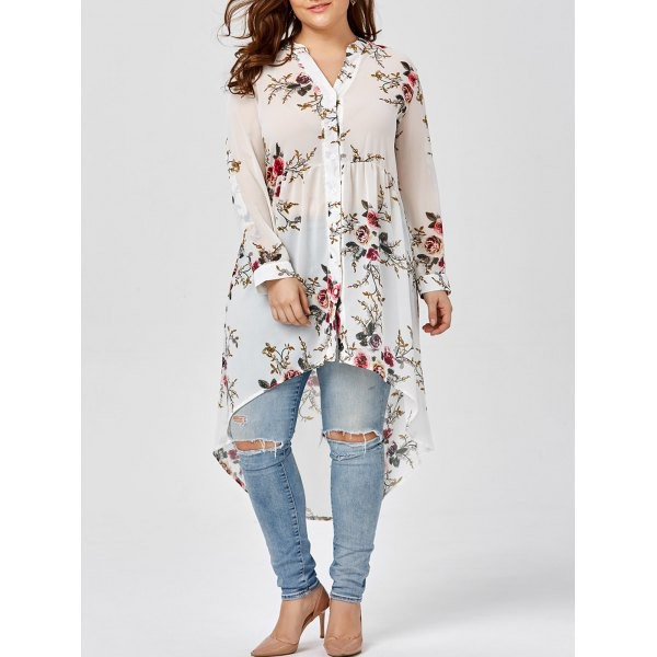 top chiffon top floral pattern floral top white top plus size top
