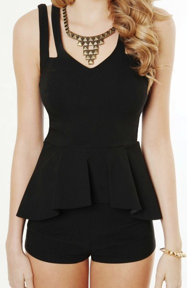 rhinestone short wide shoulder straps black playsuit peplum cute necklace braclet gold spikes jewels