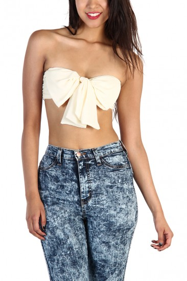 LoveMelrose.com From Harry & Molly | Bow Bandeau top - Ivory - FITTED TUBE - TOPS