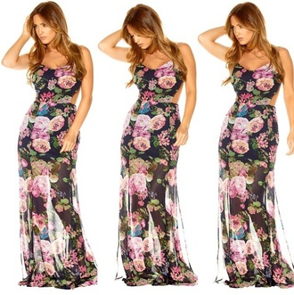 dress spring dress spring clothes floral dress trendy cut out maxi dress sheer dress style flowers