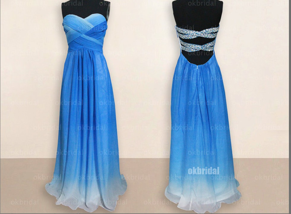 Aliexpress.com : Buy Blue Backless Prom Dress/Long Prom Dresses With Beading/A Line Simple Prom Gown/Sweetheart Princess Prom Dress 2014 New from Reliable dress women suppliers on OkBridal Dress Co.,Ltd