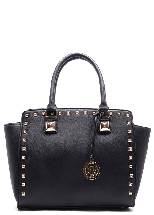 Trendy Clothing, Fashion Shoes, Women Accessories | Studded Structured Satchel in Black | LoveShoppingMiami.com