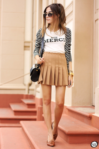 fashion coolture blogger cardigan quote on it white t-shirt pleated skirt t-shirt skirt sunglasses bag