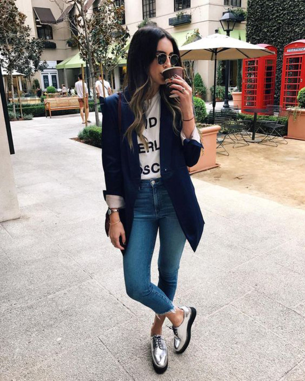 shoes sunglasses navy blue blazer graphic tee blue jeans blogger silver oxford shoes
