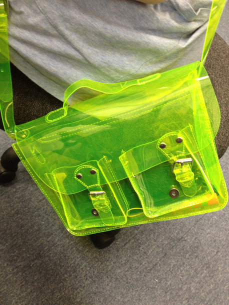 bag neon green neon green transparent translucent satchel bag