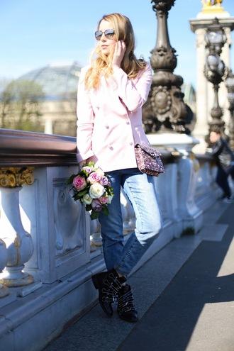 caroline louis pardonmyobsession blogger jacket jeans bag shoes crossbody bag pink jacket spring outfits ankle boots