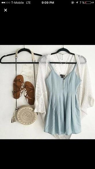 dress purse blue sandals love cute summer beach nature hipster boho bohemian findit cream turquoise turquoise dress cute sandals style clothes hippie boho dress cardigan cream sweater