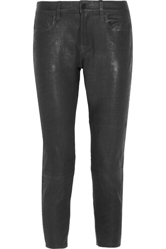pants boyfriend leather charcoal