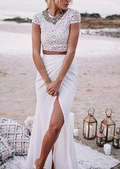 skirt,beach wedding,lace top,lace,white,beach,holidays,summer,fashion,style,fashion inspo,crochet,slit,maxi,maxi skirt,crop tops,fashionista
