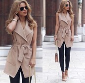 jacket,beige,long,vest,coat,brown,nude,solid,solid colors,fall outfits,fashion,sleeveless,sleeveless coat,cardigan,sleveless,belted,longline,top,summer,summer outfits,casual,chic,work outfits,style