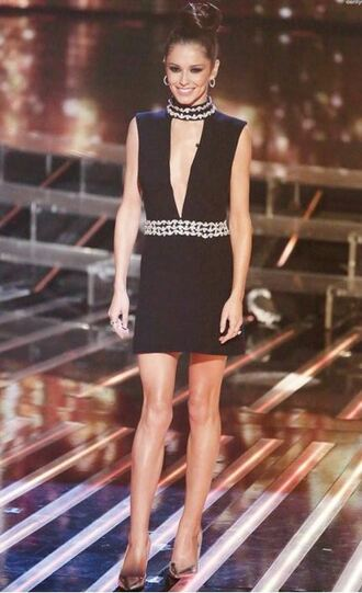 dress mini dress plunge v neck black dress little black dress embellished dress embellished cheryl cole pumps