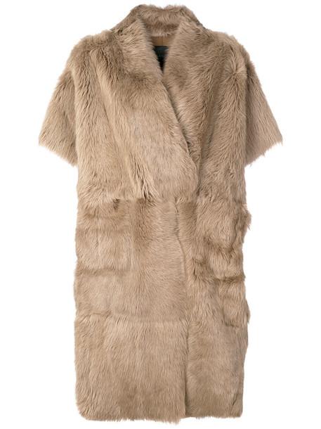 coat fur coat fur fox women brown