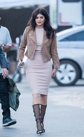 dress nude dress nude kylie jenner sandals jacket midi dress bodycon leggings