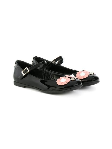 studs plastic embellished leather black shoes