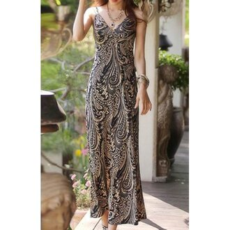 dress fashion trendy pattern summer maxi dress long dress boho rose wholesale-feb