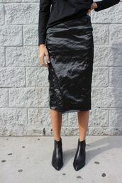skirt,black skirt,black boots,black sweater,midi skirt,pencil skirt,satin skirt,satin,silk,all black everything,ankle boots,pointed boots,minimalist