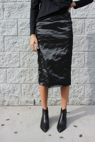skirt black skirt black boots black sweater midi skirt pencil skirt satin skirt satin silk all black everything ankle boots pointed boots minimalist