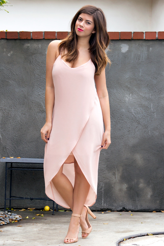 dress chiffon dress chiffon pink dress wrap dress high low dress high-low dresses tank dress pink pink summer dress style fashion chic tumblr outfit outfit blush dress summer dress spring outfits spring dress instagram streetstyle date outfit flowy girly
