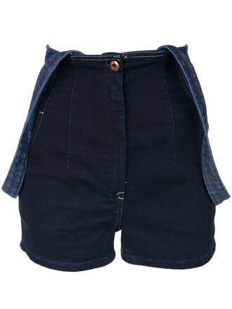 shorts high women spandex cotton blue