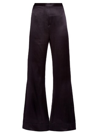 silk satin black pants