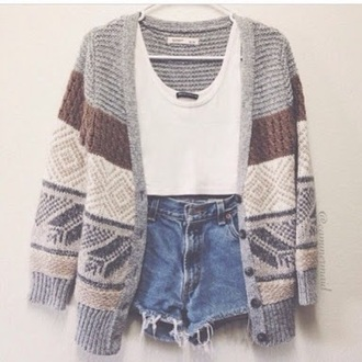 sweater cardigan aztec grey tank top shorts denim