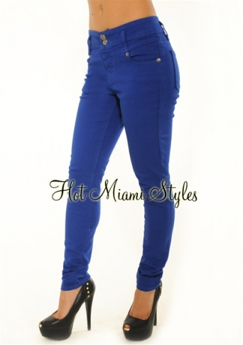 Blue High Waisted Two Button Skinny Jeans