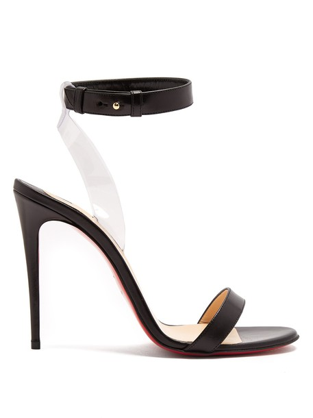 christian louboutin sandals leather sandals leather black shoes