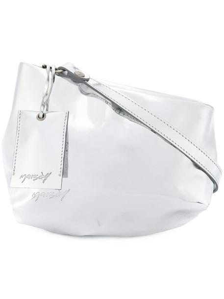 women bag shoulder bag leather grey metallic