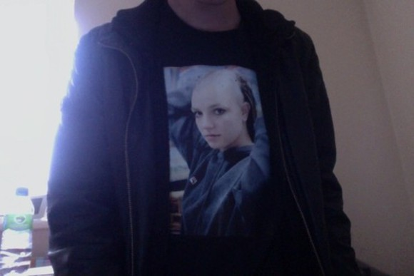 t-shirt black t-shirt bald britney spears