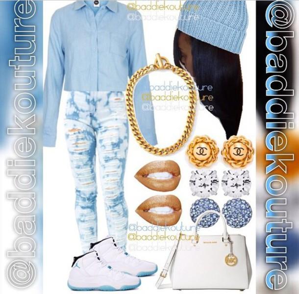 shirt denim shirt denim light blue blue blue shirt style fashion button up blouse jewels jeans