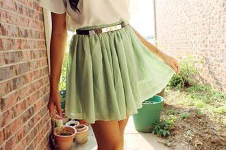 skirt mint skirt mint blouse belt green cool light green