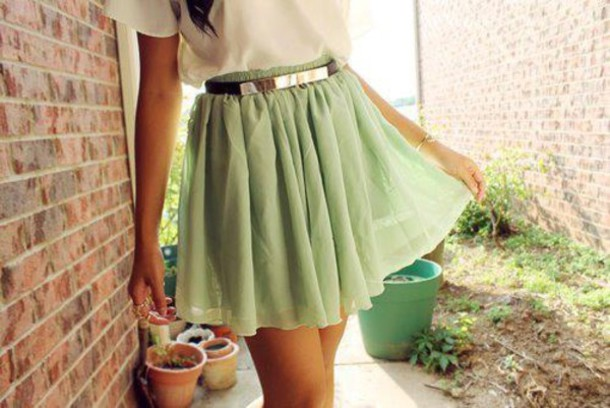 skirt mint skirt mint green blouse Belt green cool light green