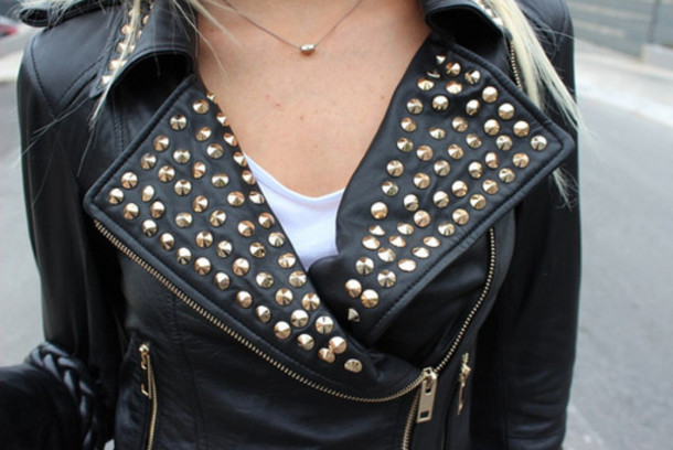 Jacket: studs, leather, black and gold, zip, leather jacket ...