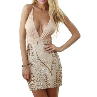 dress rose wholesale clubwear club dress stylish sexy nude cream bodycon dress summer party girly girl girly wishlist cute bodycon v neck v neck dress plunge v neck plunge dress nude dress