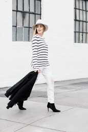 eat sleep wear,blogger,hat,jacket,sweater,jeans,shoes,striped sweater,felt hat,white jeans,ankle boots,spring outfits