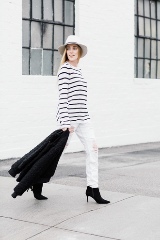 eat sleep wear blogger hat jacket sweater jeans shoes striped sweater felt hat white jeans ankle boots spring outfits