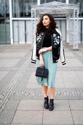 samieze blogger skirt bag shoes jacket bomber jacket ankle boots midi skirt blue skirt handbag spring outfits
