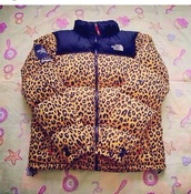 jacket,leopard print,north face,north face jacket