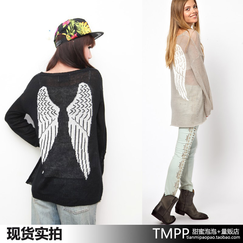 Free shiping Wildfox 13 thin letter angel wings sweater turtleneck sweater air conditioning shirt-inPullovers from Apparel & Accessories on Aliexpress.com