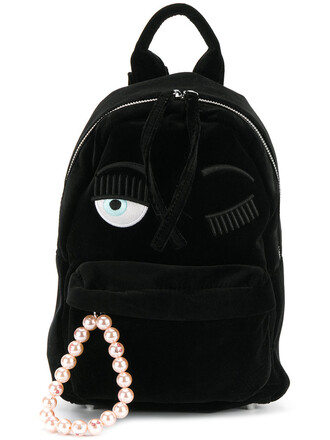 women backpack black velvet bag