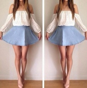 shirt,white,jewels,peasant top,dress,blouse,top,crop tops,cute,skirt,blue,white top,cute outfits,blue jean skirt,denim skirt,lace top,trendy,summer outfits,shoes,off-sholder,shirt and skirt,white shirt,white lace top,off the shoulder top