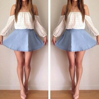 shirt white jewels skirt blouse blue jean skirt white shirt white lace top off the shoulder top