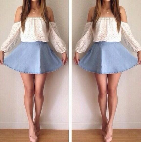 white shirt white lace top off the shoulder top white shirt jewels skirt blouse blue jean skirt