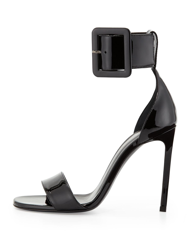 Patent Ankle-Buckle dOrsay Sandal