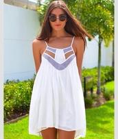 dress,summer dress,summer,cute,beach,beach dress,white dress,white,pretty,blue,sundress,cut-out dress,stripes,cute dress,game day,fashion,tan