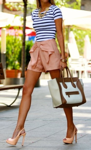 shorts summer bow high waisted t-shirt bag belt light pink striped shirt black and white shirt shirt bow shorts beige shorts High waisted shorts coral peach bows pink shorts blush pink pants clothes clothes\ summer outfits short pink stripes