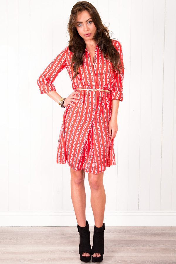 vintage vintage dress chain chain print red dress shirt dress dress
