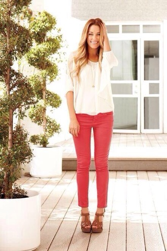 pants red shoes blouse jeans colorful leggings pink red jeans fashion lauren conrad white blouse sandals brown sandals celebrity red pants