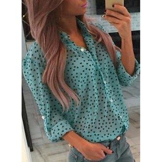 blouse mint cute trendy women's shirt collar long sleeve sweetheart pattern shirt casual girly trendy fashion style long sleeves heart